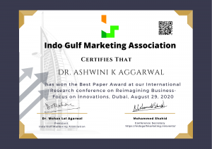 On working hard, silently- to hear the sound of success! Best Paper Award at Indo Gulf Marketing, Dubai Conference…